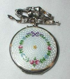 Vintage Sterling Silver Necklace Pendent Locket Enamelled Roses Forget Me Nots | eBay