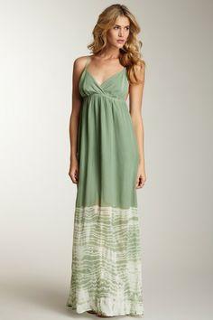 poolside:  Gypsy 05 Women Dip Dye Silk Maxi Dress in Sage Green Olive