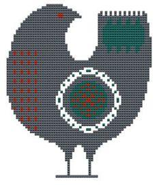 cross stitch pattern Scandinavian Bird modern and traditional folk art pdf hand embroidery. $5.00, via Etsy.