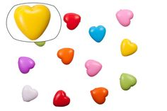 Heart mix color opaque acrylic beads 14.5x14mm at $1.57/100G/75pcs, shop plastic beads at Beadingsupplys.com