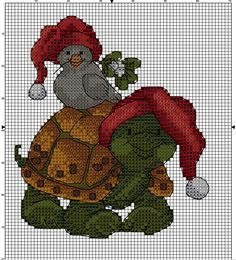 Christmas Turtle With Bird Counted Cross Stitch Patterns, Cross Stitch Charts, Cross Stitch Embroidery, Christmas Perler Beads, Christmas Cross, Crochet Turtle, Cross Stitch Animals, Cross Stitching, Creations