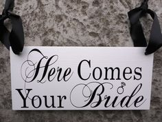 Here Comes YOUR Bride/ ...and they lived Happily ever after with wedding rings on the front and back.