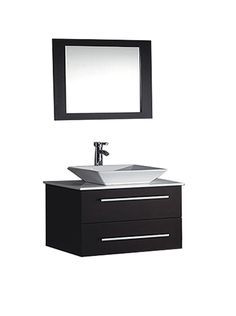 """This Single Sink Wall Mounted Modern Bathroom Vanity is made out of Solid Oak Wood Cabinetry, non-staining Microstone countertop, Ceramic Vessel Sink, soft closing full extension drawers, soft closing doors, stainless steel handles, solid oak wood framed mirror, Polished Chrome or Brushed Nickel faucet, pop-up drains, and flexible hoses.   Installation Guide  Weights & Dimensions  Overall: 20.5""""(H) x 35.4""""(W) x 20.5""""(D)"""