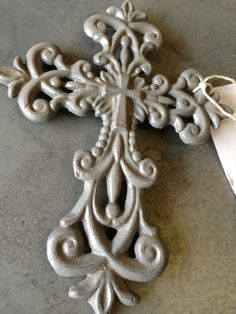 Gray Distressed Cast Iron Wall Cross Wall Decor