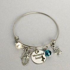 Mermaid Charm Bangle, Mermaid Soul Bracelet, Mermaid Jewelry, Gift for Mermaid Lover, Swarovski Crystal Charm, Mermaid Bangle