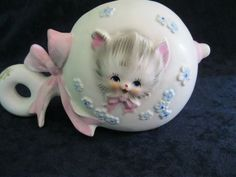 Vintage NAPCO WARE Cat-Kitten Small RATTLE SHAPED PLANTER Girl Pink C-6700 JAPAN