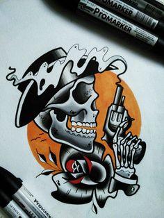 Neo traditional flash black skull