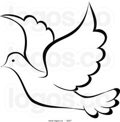 Royalty Free Vector of a Black and White Flying Dove Logo