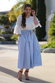 Layla Navy Striped Skirt – Skirt Society