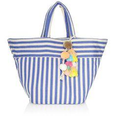 JADEtribe Nautical Stripe Beach Tote ($155) ❤ liked on Polyvore featuring bags, handbags, tote bags, striped tote, man bag, beach tote, stripe tote bag and white handbags
