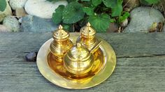 Brass Salt & Pepper Set/Condiment Set on TrayVintage Thai