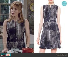Maura's abtract print zip front dress on Rizzoli and Isles.  Outfit Details: http://wornontv.net/50165/ #RizzoliandIsles