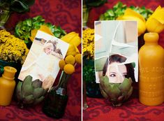 Amelie themed wedding where they had guests send in a snapshot of themselves with the RSVP. The bride and groom tore the pictures, taped them together and that made the place cards. SERIOUSLY! SO PERFECT!