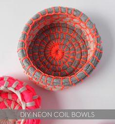 #DIY #Neon fabric coil bowl tutorial