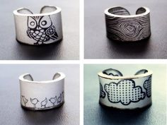 Rings made from 'rough and ready' Shrinky Dinks - imagery can be drawn, and colored with colored pencil or rubber stamps.