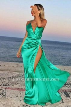 Sexy Green V-Neck Side Slit Evening Dress Prom Gown TCD6335