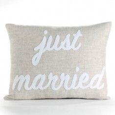 """Alexandra Ferguson """"Just Married"""" Pillow"""