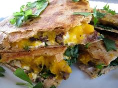 Butternut Squash, Black Bean, and Feta Quesadillas by kelseysappleaday as adapted from Bon Appetit: This could easily be a weekday meal with squash puree made the night before. #Quesadilla #Butternut_Squash #Black_Bean #kelseysappleaday #Bon_Appetit