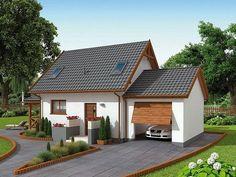 Projekt domu z poddaszem o pow. 57,43 m2 z garażem 1-st., z dachem dwuspadowym, z werandą, sprawdź! Small Modern House Plans, Small House Design, Tiny House Plans, American Style House, A Frame House Plans, Model House Plan, Outdoor Pergola, Big Houses, Cottage Homes
