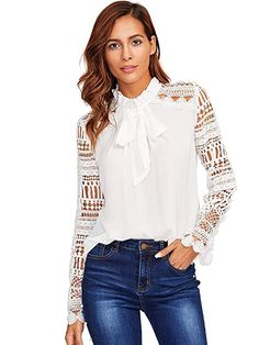 SheIn offers Geo Lace Sleeve Frilled Tie Neck Blouse & more to fit your fashionable needs. Ruffle Collar, Ruffle Blouse, Ruffle Top, Fashion Online Shop, Moda Outfits, Tie Neck Blouse, Neck Ties, Spring Shirts, Beautiful Blouses