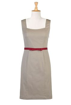 Red belted sheath - one of many dresses I want from this site. You can customize any dress to your measurements!