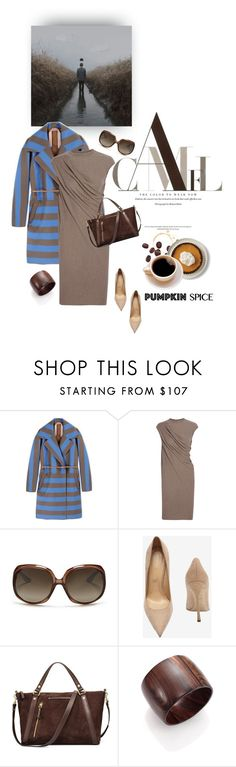 """""""Coffee and cake!"""" by iriadna ❤ liked on Polyvore featuring N°21, Rick Owens, Christian Dior, Sergio Rossi, UGG, Nest, stripes, fallstyle, woolcoat and pss"""