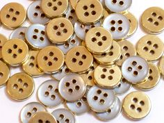 Vintage Goldtone and Clear Metal Buttons 3/8 inch in diameter x 50 pieces Tiny Buttons by GriffithGardens on Etsy