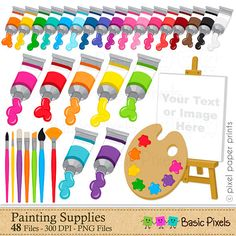 Painting Supplies  Digital Clip Art  Paints and by basicpixels