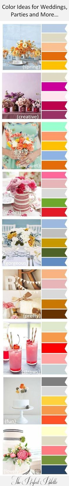 Color Ideas for Weddings, Parties and More! http://www.theperfectpalette.com/2012/09/color-ideas-for-weddings-parties-and.html