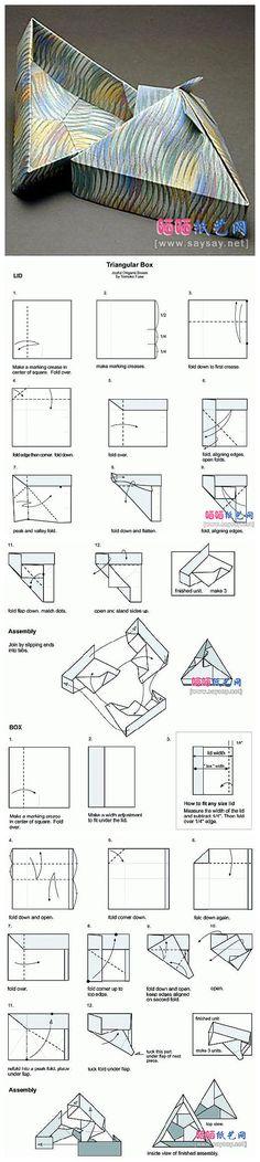 Triangular origami box by Tomoko Fuse.  Diagrams.