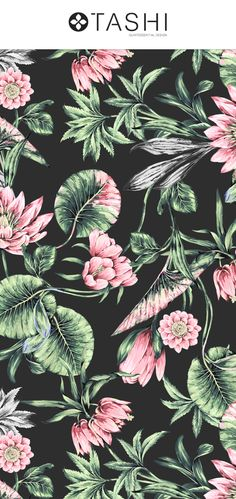 Presenting new design Lotus, exquisitely hand painted design with beautiful lavish details and elegant colors. Floral Print Fabric, Floral Prints, Art Prints, Pattern Print, Print Patterns, Print Ideas, Imagines, Leaf Art, Pattern Illustration