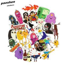 25pcs Adventure Time Cartoon Pvc Waterproof Sticker For Luggage Wall Car Laptop Bicycle Motorcycle Notebook Laptop Toys Stickers