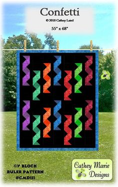 Confetti By Laird, Cathey  - Finished size 55in x 68in.  Just imagine all the fun you could have making this quilt! It is made with the easy-to-use, multi-function Y Block Ruler by Cathey Marie Designs.