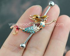 Mermaid Industrial Barbell Ear Jewelry Double Piercing,Mermaid Belly Button Rings, Little Mermaid earring,Nautica earrings