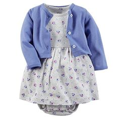 Carters Baby Girls 2 Piece Floral Dress Set CadetGrey Flowers3M -- Details can be found by clicking on the image.Note:It is affiliate link to Amazon.