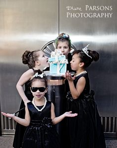 "Breakfast at Tiffany's inspired shoot. Cake, pearls, child, children, flowers. ""where's mine?"" @Victoria Kenyon @Kristen Kleppel-Morris @Earth Blossoms Flowers"