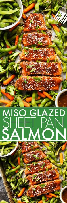 One Pan Miso Glazed Salmon and Vegetables is an easy meal perfect for busy weeknights. Best of all, it's baked on ONE sheet pan with flaky salmon, crispy veggies, edamame and a flavorful miso glaze.