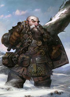 m Dwarf Cleric Medium Armor Shield Flail Hills Winter snow Traveler Harrim by Valeriy Vegera lg Fantasy Warrior, Fantasy Dwarf, Fantasy Male, Fantasy Rpg, Medieval Fantasy, Fantasy Portraits, Character Portraits, Fantasy Artwork, Dungeons And Dragons Characters