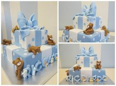 Baby Boy Christening Cake, Baby Boy Cakes, Baby Shower Cakes, Baby Shower Parties, Baby Shower Themes, Teddy Bear Baby Shower, Baby Boy Shower, Dad Cake, Teddy Bear Cakes