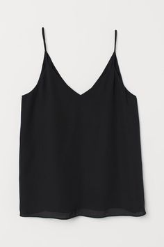 Chiffon top with a V-neck front and back and spaghetti shoulder straps. The polyester content of the strappy top is partly recycled. Pink Patterns, Looks Cool, Black Pattern, Fashion Company, Black Tank Tops, Cami Tops, Shirt Shop, Woven Fabric, Chiffon Tops