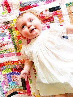 LK's log cabin quilt. #baby #quilt #pink #log #cabin
