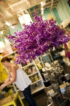 """""""Beautiful tall centerpiece designed with mokara orchids. Created by Leigh Anne Landman of The Floral Lab. Orchid Centerpieces, Centerpiece Decorations, Wedding Centerpieces, Wedding Bouquets, Wedding Flowers, Unique Centerpieces, Tall Centerpiece, Dendrobium Orchids, Purple Orchids"""