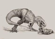 Rex is hungry. by Zombiraptor on DeviantArt Dinosaur Sketch, Dinosaur Drawing, Dinosaur Art, Prehistoric Wildlife, Prehistoric Creatures, Dinosaur Tattoos, Jurassic World Dinosaurs, Jurassic Park, Devian Art