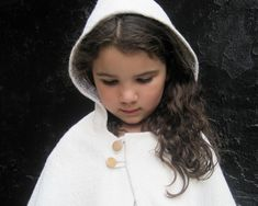 Girls CAPE Jacket Dressy Shrug - Weddings Accessory - Snow White Boiled Wool Capelet Hood Size 12 months 1T to 3T - Modern Kids Fall Fashion