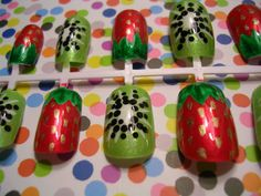 Strawberry Kiwi Fruity Fake Acrylic False Nails 12pcs - Glue and Adhesive Tabs included - FREE Combined Shipping - FREE Gift