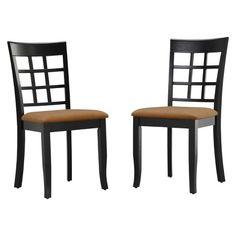 Kensington Lattice Back Chair - Black (Set of 2)