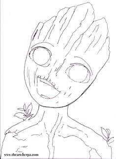 I am Groot BABY for the youtube Acrylic Art sherpa Tutorial www.theartsherpa.com Coloring page n