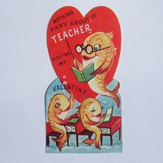 Vintage Valentine card school of fish for teacher. $5.00, via Etsy.