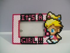 """Princess Peach  """"Its a Girl"""" - Maternity Perler Frame by Yumes Pixel Crafts   NES Nintendo Super Mario Brothers"""