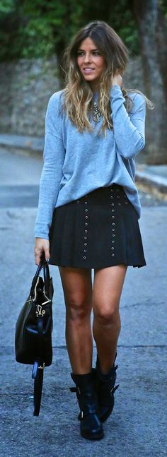 Pleated Black Skirt + Loose Grey Sweatshirt
